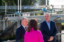 L-R - Paddy Harney, Minister Nicola Mallon, Niall McGill